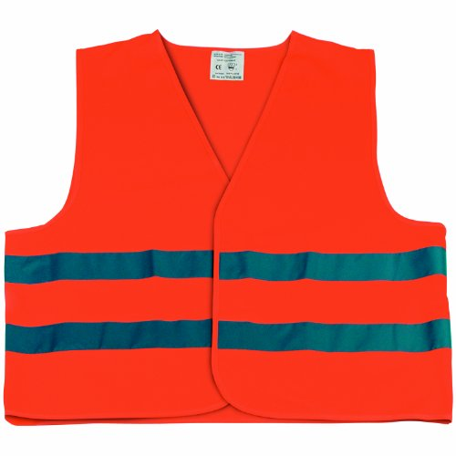 Cartrend 50129 Chaleco reflectante de averías naranja tamaño L, DIN EN 20471 en práctica bolsa textil con cierre de cremallera