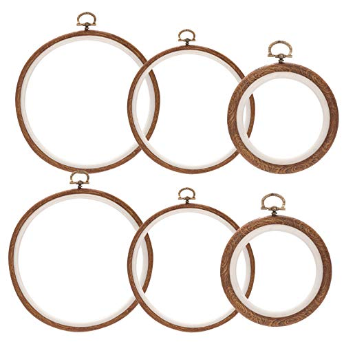 6Pcs 6.7/5.3/3.9 Inch Round Imitated Wood Embroidery Hoops Kit- Cross Stitch Ring Embroidery Display Frame Circle for Art Craft Sewing (3 Sizes, 2 of Each)