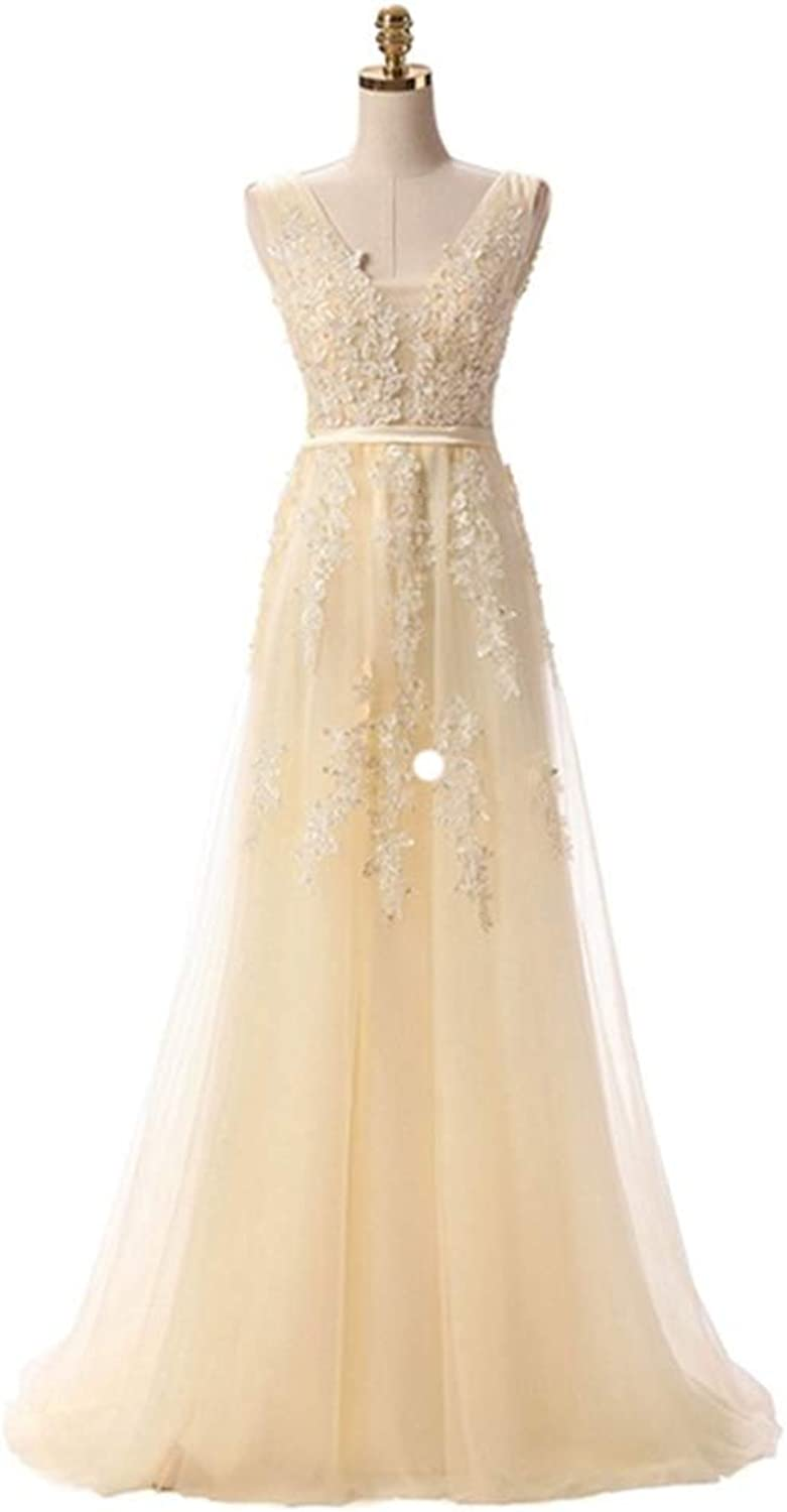 Women's VNeck Tulle Lace Appliques Long Evening Dresses Backless Prom Gown