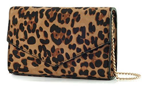 Leopard Print Envelope Evening Clutch Women Chain Shoulder Bag (Brown Leopard Print)