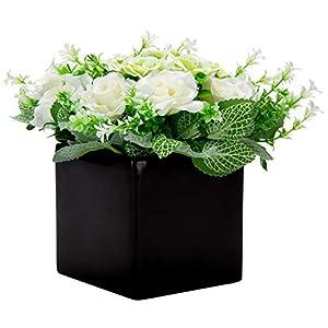 Silk Flower Arrangements MyGift Decorative Artificial Ivory Rose Flower Floral Arrangement in Square Black Ceramic Vase