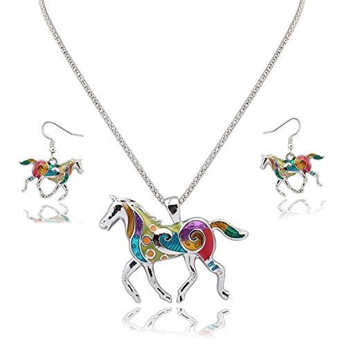 JinYu - Juego de collar y pendientes con colgante de caballo arcoíris para niñas y niños, color plateado
