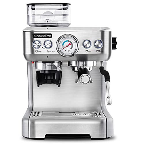 Espresso Machine with Grinder & Steam Wand, 20 Bar Semi Automatic Espresso Coffee Machine Latte and Cappuccino Coffee Maker All in One Espresso Machine For Home Barista, Brushed Stainless Steel
