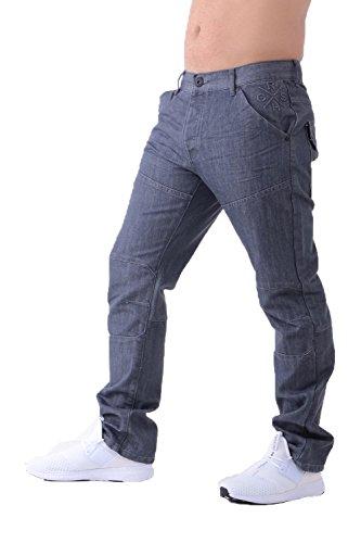 Mens Crosshatch Woodel Jeans Grey Coated 40S