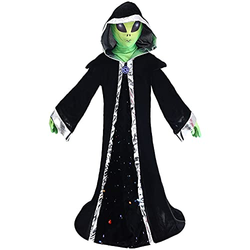 Halloween kids Alien Costume, Stretch Mesh Eye Cloth Realistic Gloves Black Hooded Robe Clothes, Halloween Cosplay Outfits