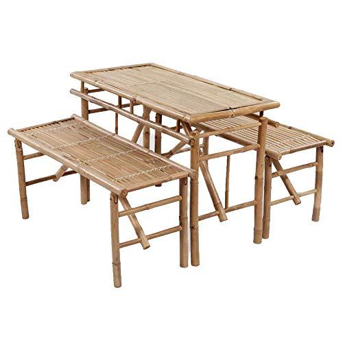 AYNEFY Bambus Gartentisch,Bambustisch Gartentisch Bambustisch Picknicktisch Biertisch mit 2 Bänken 100 cm - Bambus