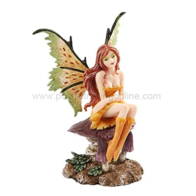 """Pacific Giftware New 2013 Amy Brown Fantasy Little Mae Faery Mushroom Fairy Statue Enchanted 6"""" h Figurine"""