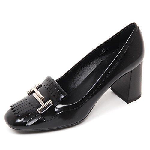 Tod's D0386 Decollete Donna Black Scarpa frangia doppia T Shoe Woman [36]