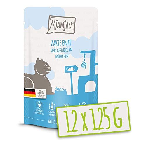 MjAMjAM - Premium Nassfutter für Katzen - Quetschie - zarte Ente & Geflügel an leckeren Möhrchen, 12er Pack (12 x 125 g), getreidefrei mit extra viel Fleisch