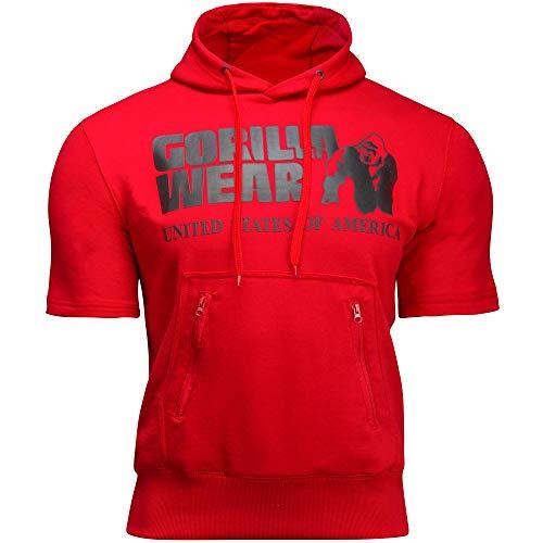 GORILLA WEAR - Kurzarm Sport Hoodie Herren - Boston Short Sleeve Fitness Bodybuilding T-Shirt Rot 3XL