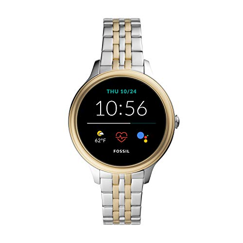 New Fossil Unisex 42MM Gen 5E Stainless Steel Touchscreen Smart Watch, Color: Silver/Gold (Model: FTW6074)