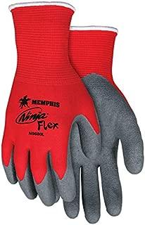 Memphis MCR Ninja N9680 Latex Coated Red Nylon Gloves Size XL (One Dozen)