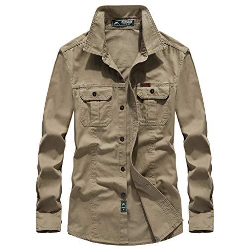 Uqiangy Mens Cotton Casual Lightweight Solid Big and Tall Sizes Windbreaker Sherpa Jacket(Khaki,XXL)