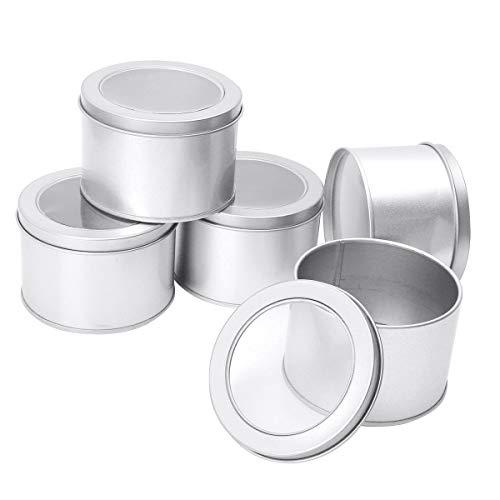 iEFiEL Tarros de Hojalata para Hacer Velas Tarros de Lata Redonda Recipiente de Latas de Metal Vacío Latas de Aluminio con Tapa para Té Caramelo café Azúcar Joyería Plata Mate One Size