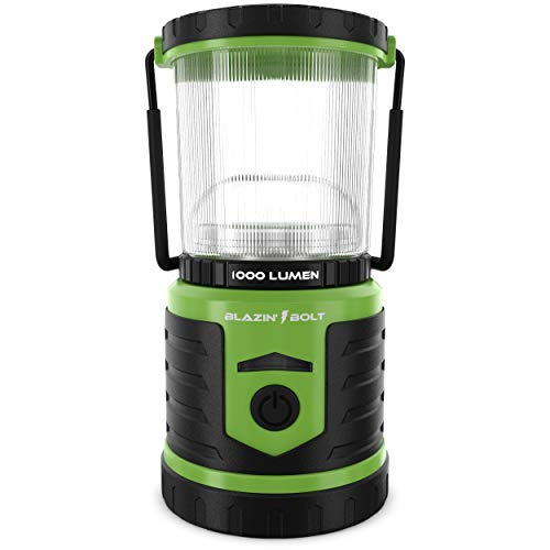 Blazin' USB Lantern Rechargeable Battery   1000 Lumen   350 Hours of Light   Giant 12,000 mAh Power Bank   6 Modes   Power Outage, Storm, Blizzard, Hurricane Survival (Green)
