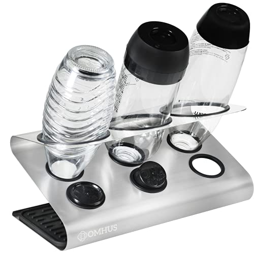 DOMHUS® Premium Abtropfhalter für SodaStream Flaschenhalter aus Edelsthal mit Abtropfmatte   Kompatibel mit Soda Stream Glasflaschen Crystal, Easy, Fuse, Emil   Universal, für Sprudelwasser Maschinen