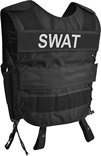 normani Taktische SWAT Weste mit Pistolenholster und abnehmbarem Schriftzug auf dem Rücken Farbe SWAT Größe XL/XXL