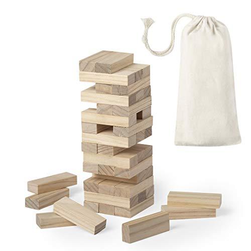 Juego Torre de Madera de Habilidad (tamaño pequeño/Viaje). Incluye 45 Piezas de Madera y Viene presentado en una Resistente Funda de algodón con Cierre de cordón.
