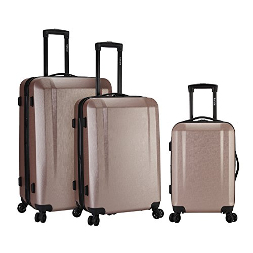 kensie 3 Piece Expandable Hardside Luggage Set with 8-Wheels Spinner System and EXTRA Packing Capacity, Rose Gold Color Option