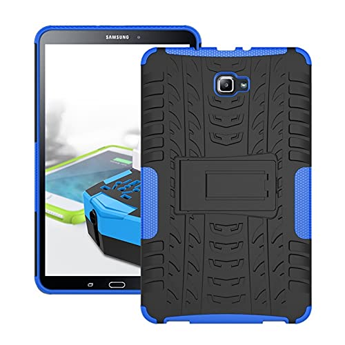 Protective Case Tablet Cover for Samsung Galaxy Tab A 2016 10.1/P585/P580 Tire Texture Shockproof TPU+PC Protective Case with Folding Handle Stand Tablet Slim Cover Shell ( Color : Dark blue )
