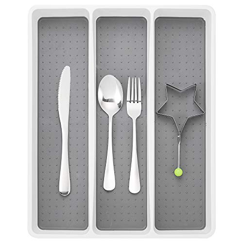 Silverware Drawer Organizer with Multi-Purpose Storage   Kitchen Drawer Organizer   Flatware Drawer Tray for Silverware Soft-grip Lining and Non-slip Rubber