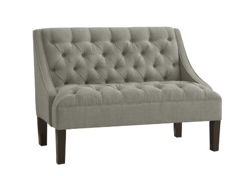 Hot Sale Skyline Furniture Tufted Swoop Arm Settee in Linen Grey