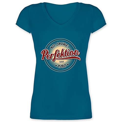 Geburtstag - 40 Jahre Perfektion seit 1980 - XXL - Türkis - XO1525 - Damen T-Shirt mit V-Ausschnitt