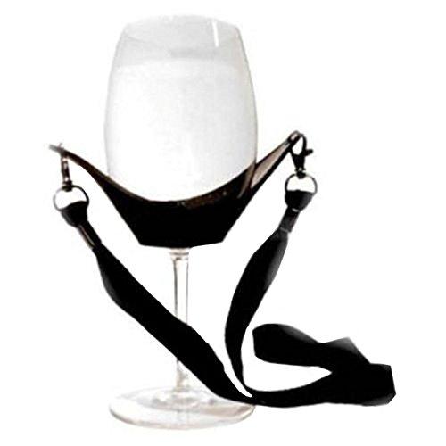 Kicode tragbar Wein Yoke Lanyard Glashalter Unterstützung Riemen schwarz zum Muttertag Geburtstagsgeschenke vorhanden