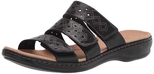 Clarks Women's Leisa Spice Flat Sandal, Black Leather, 9