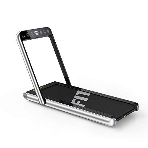 Fitifito ST500 Edles Laufband Profilaufband mit Touchscreen 1.0-15 km/h - leise & elektrisch - Bluetooth - Fernbedienung komplett klappbar und verstaubar - Handy-/Tablethalter Silber