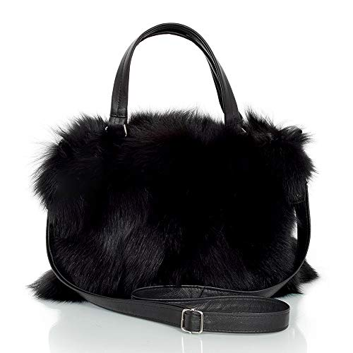 FOX FASHION Damen Handtasche mit Reißverschluss aus schwarz Fuchs Fell Pelztasche Handtasche Fuchs Fell Pelz Fuchspelz Tasche Echtfell Felltasche Echt