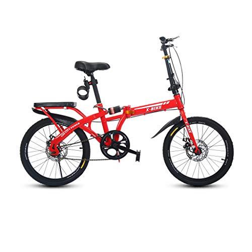 AB folding bike Biciclette Pieghevoli per Adulti Leggere Mini Portatili Uomini e Donne 48 cm Ruote per Auto Freni a Disco Singola velocità - Rosso