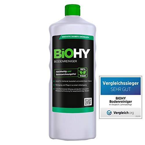 BiOHY Bodenreiniger (1l Flasche) | Konzentrat für alle Reinigungsgeräte und alle Hartböden | Angenehmer Geruch und streifenfreie Reinigung