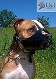 Champion /L&J Pets UK Muselière en cuir véritable solide pour chien américain Staffordshire...