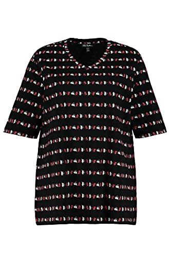 Ulla Popken Shirt Relaxed mit Herzstreifen Camiseta Relajada con Rayas de corazón, Color Gris Medio, 56 para Mujer
