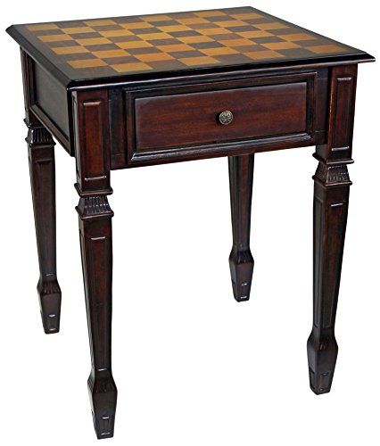 Design Toscano Walpole Manor Chess Gaming Table, 26 Inch, Walnut