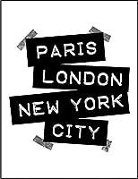 【FOX REPUBLIC】【パリ ロンドン ニューヨーク】 白光沢紙(フレーム無し)A3サイズ
