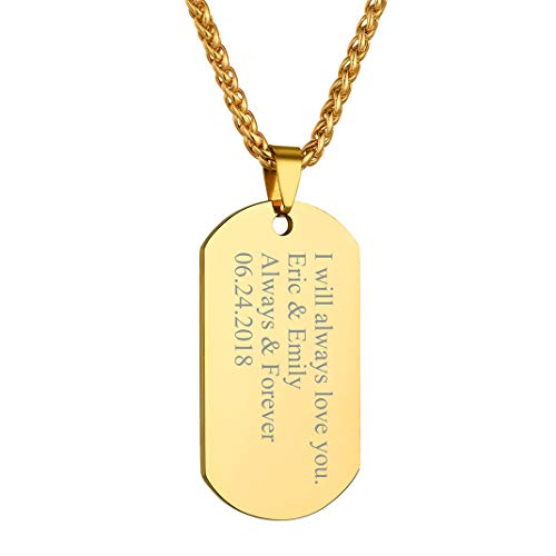 GOLDCHIC JEWELRY Gold ID Dog Tag, Personalised Engraving Pendant Necklace for Men