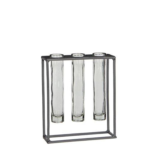 MICA Decorations Matt Vase für Einzelblüten, Metall, grau, l17xb6xh20cm