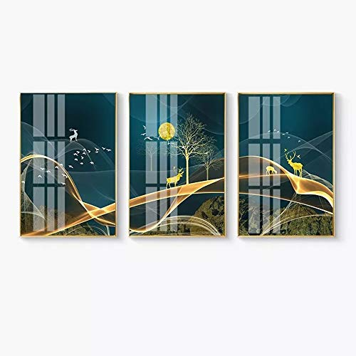 WANGXINQUAN Mural triple luz cristal de lujo de cerámica ciervos nórdicos oro rico decorativo aluminio L ciervos montando nubes 40 x 60 cm