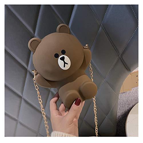 Youpin Bolsa de oso de dibujos animados para mujer, bolsa de hombro, bolsa de cadena linda de dibujos animados monedero para teléfono móvil pequeño (color: 6, altura: 11 cm 30 cm)