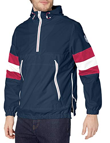 Perry Ellis - Men's Outerwear Men's Waterproof Popover Hooded Lightweight Rain Jacket, Navy, X-Large