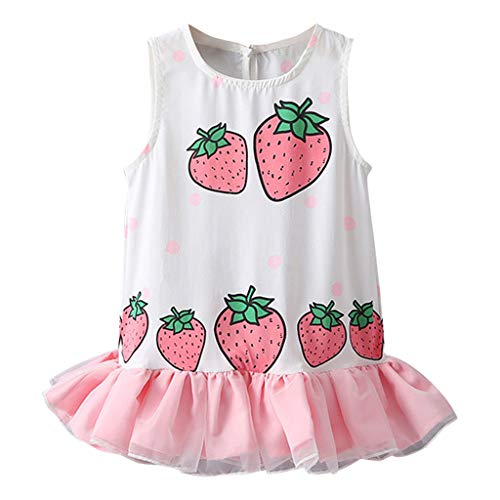 Julhold Kleinkind Kinder Baby Mädchen Oansatz Strawberry Print Patchwork Tüll Rüschen Sommerkleid Kleid 2019 Sommer