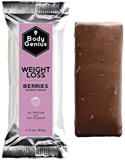 BODY GENIUS Weight Loss (Berries). 40gx13 barritas. Altas en Proteína, Bajas en Hidratos y Sin Azúcar Añadido. Ideal para Deportistas. Hecho en España
