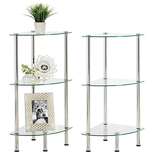 mDesign Home Floor Storage Corner Tower, 3 Tier Open Glass Shelves - Compact Shelving Display Unit - Multi-Use Home Organizer for Bath, Office, Bedroom, Living Room - 2 Pack - Clear/Chrome Metal