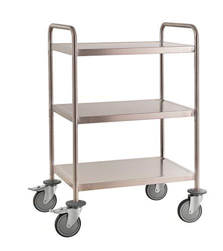 Lagerino – Carro de mesa de acero inoxidable completamente