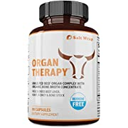 Organ Therapy Grass Fed Beef Organ Meat Complex Supplement with Organic Bone Broth Concentrate (Beef Liver, Heart, Kidney and Bone Broth Capsules with BioPerine), 90 Capsules