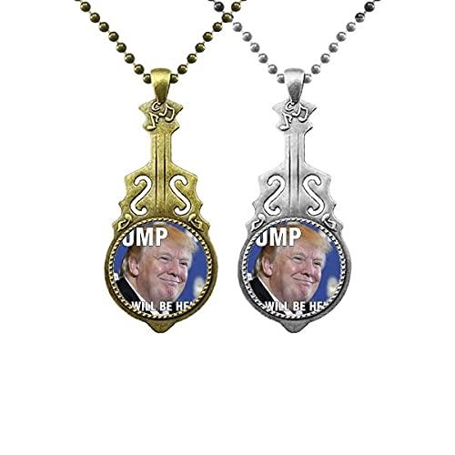 Alberner amerikanischer Trump Präsident Image Liebhaber Musik Gitarre Anhänger Schmuck Halskette Anhänger