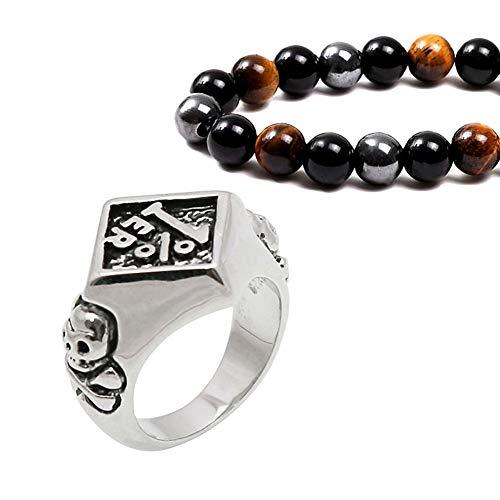 Fandao Viking/Nordic Pirate Skull Stainless Steel Ring, Retro Norse Warrior Rhombus Ring, Scandinavia Jewelry, Bracelet Gift Set,9