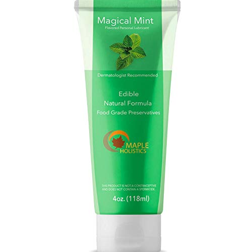 Natural Personal Lubricant Water Based Lube for Sensitive Skin Mint Flavored Lubricant for Women and Men with Aloe & Carrageenan Silicone Free Long Lasting Personal Moisturizer for a Smooth Glide